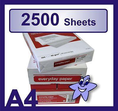 A4 White 80gsm Copier Paper 5 Reams ( 5 x 500 Sheets ) 5 Reams X 500 Sheets