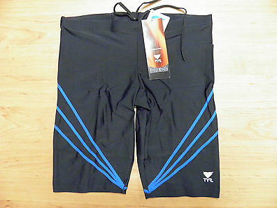 TYR Men Swimwear Aether JAMMER Black + blue (many sizes) FREE SHIPPING ~Best