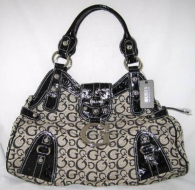 GUESS Logo Ozzie Bag Purse Satchel Black Moose Beige
