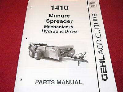 Gehl 1410 Manure Spreader Dealers Parts Book
