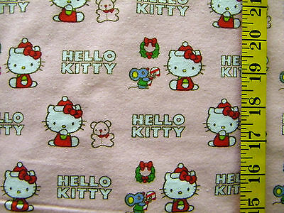 HELLO KITTY PINK CHRISTMAS PRINT 100% COTTON FLANNEL FABRIC BY THE 1/2 YARD ()