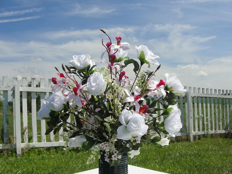 Headstone Grave Flowers Silk Japanese Pink Orchids Roses Memorial Beloved One