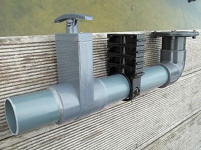 Schmutzablaß komplett mit Schieber, Rohre, Durchführung, Rohrschelle in 50 mm