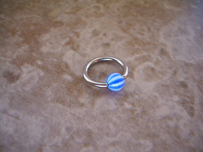 PAIR 2 PCS Beach Ball Stripe Captive Bead Ring 16g  3/8