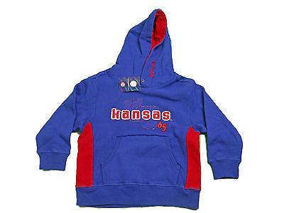 KANSAS JAYHAWKS KIDS TODDLERS BLUE EMBROIDERED HOODED SWEATSHIRT NEW