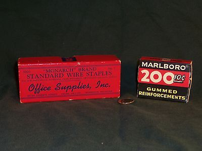 Vintage Monarch Staples W Advertising On Box Marlboro Reinforcements Lot