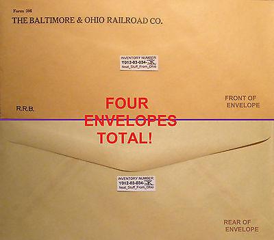 BALTIMORE & OHIO RAILROAD CO. - FOUR ENVELOPES TOTAL! - circa 1930-40s?