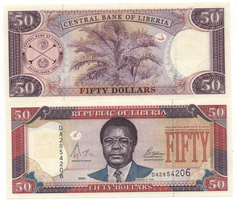 LIBERIA 50 DOLLARS 2004 PICK 29 UNC