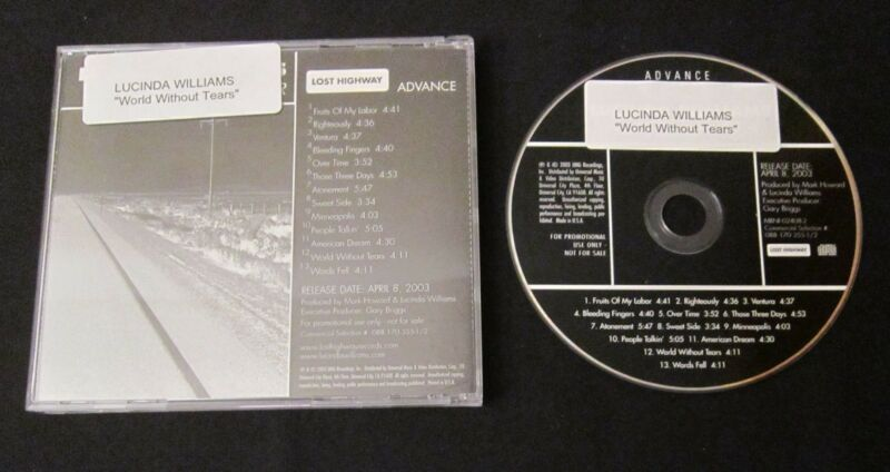 LUCINDA WILLIAMS 'WORLD WITHOUT TEARS' 2003 LIMITED CD