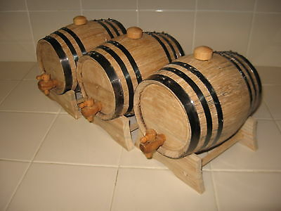 OAK BARRELS (THREE)  2 LITER FOR WHISKEY OR SPIRITS for sale  Shipping to Canada