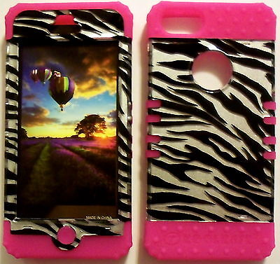 Silver Zebra Pink Skin Hybrid Apple iPhone 5 Rubber Hard Protector Cover -