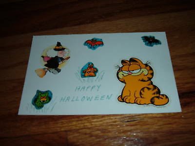 Vintage  GARFIELD HAPPY HALLOWEEN GOBLIN BAT WITCH POSTCARD Orange Tabby Cat htf