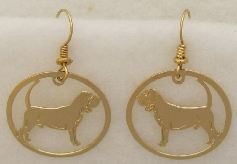 Bloodhound Jewelry Gold Dangle Earrings by Touchstone