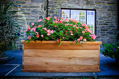 - Teak wood planter flower herb tree window box garden, 37x21x19 (OD)