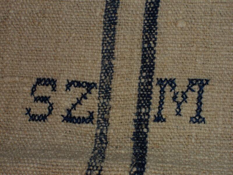 Antique European Feed Sack GRAIN SACK SZM Monogram # 2576