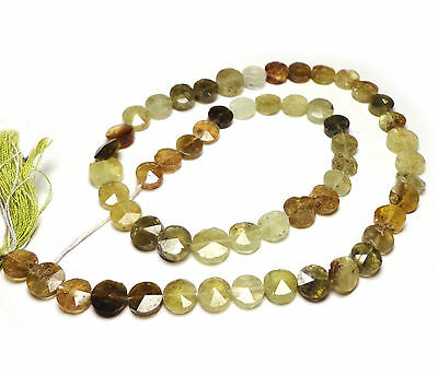 GROSSULAR GARNET 7-8MM FACETED COIN BEADS F119 15
