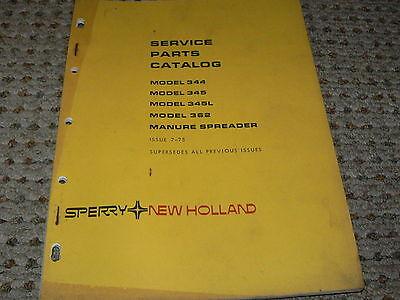 New Holland 344 345 345l 362 Manure Spreader Dealers Parts Book