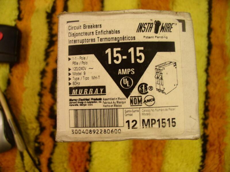 MURRAY/SIEMENS/ITE MP1515 BOX OF (12) 15 AMP 2 POLE PLUG IN CIRCUIT BREAKERS