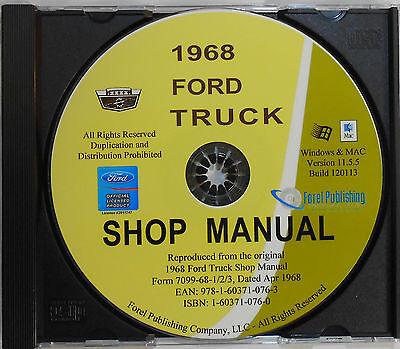 1968 FORD F-SERIES TRUCKS F100 F150 F250 F350 F800 SHOP SERVICE MANUAL ON CD