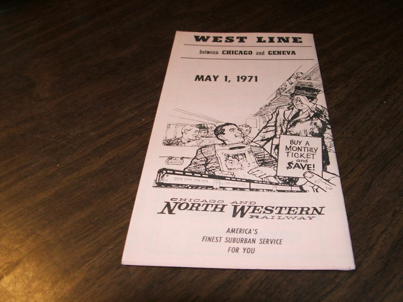 1971 C&NW CHICAGO AND NORTHWESTERN SUBURBAN WEST LINE PUBLIC TIMETABLE