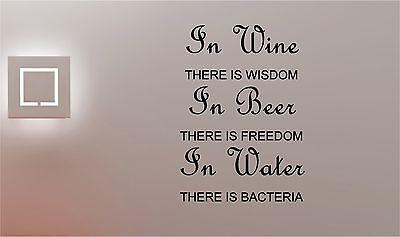 Vino Cerveza & Agua Adhesivo de Pared con Texto Vinilo Cocina Pub...