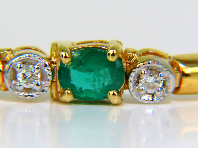 2.35ct Natural Emeralds Solid Bar Link Deco Diamonds Bracelet+
