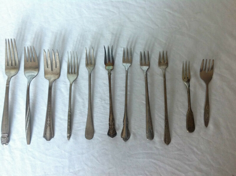 Mixed Lot of 11 Silverplate & Stainless Forks