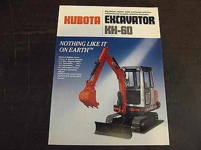 Kubota Kh-60 Compactmini Excavator Brochure 1987