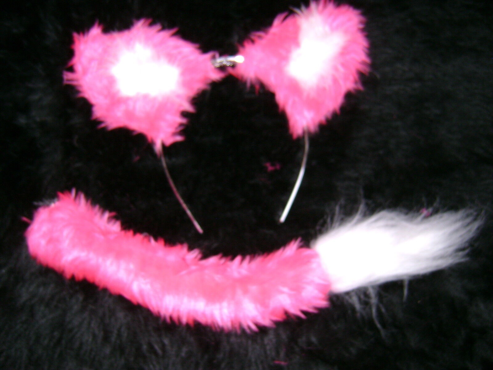 Cat Lion Dog Animal Ears And Tail Set White /& Bright Pink Fancy Dress Handmade