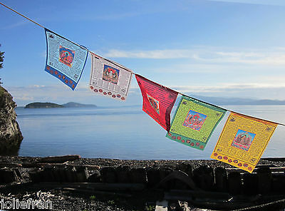 (BEAUTIFUL 5 DEITIES W/ MANTRAS & 8 SYMBOLS LARGE TIBETAN BUDDHIST PRAYER FLAGS)