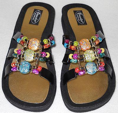 GRANDCO SANDALS Beach Pool SLIDE BLING Color Beads BLACK SLIDE Dressy Flip Flops - Dressy Flip Flops