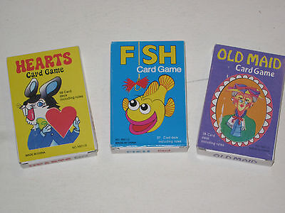 Classic Childrens Card Games   All 3   Go Fish Old Maid   Hearts  Old Fashioned