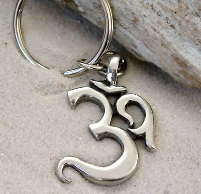 OHM OM AUM BUDDHA BUDDHIST Pewter KEYCHAIN Key Ring](Buddha Keychain)