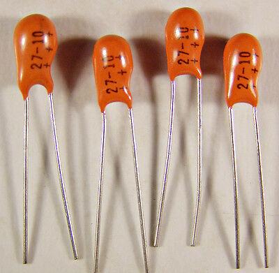 Five Sprague 196d 27uf 10v Tantalum Capacitors Tantalex Nos
