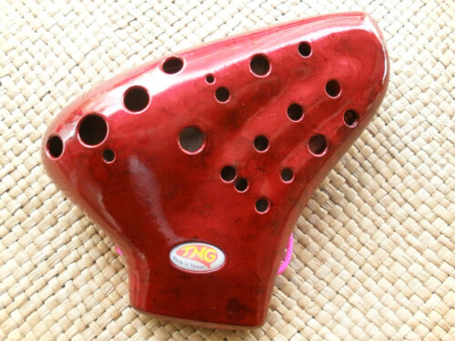 New TNG Red Plastics Steel Excellent Triple Ocarina Flute COLLECTIBLE