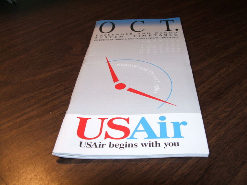 OCTOBER 1992 USAIR SYSTEM TIMETABLE