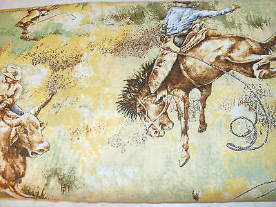 1 Yd Western Cowboy Novelty Fabric Rodeo Scenic Horses Cows on Gold Green