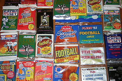 GREAT LOT OF OLD UNOPENED FOOTBALL CARDS IN PACKS