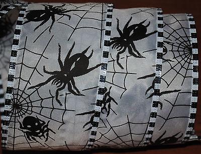 Wired Ribbon~Halloween Black Spider~Web~White~2.5
