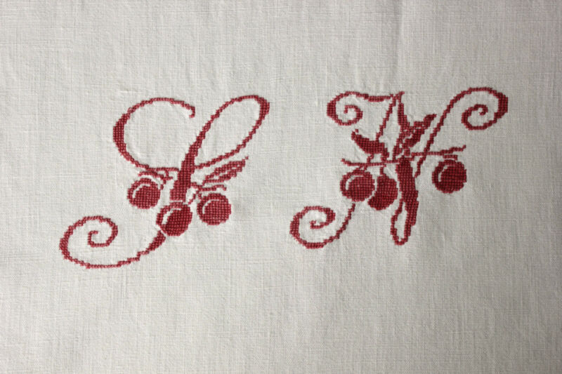 Vintage French Cotton Sheet LN monogram 72X114 red cross stitch light weight