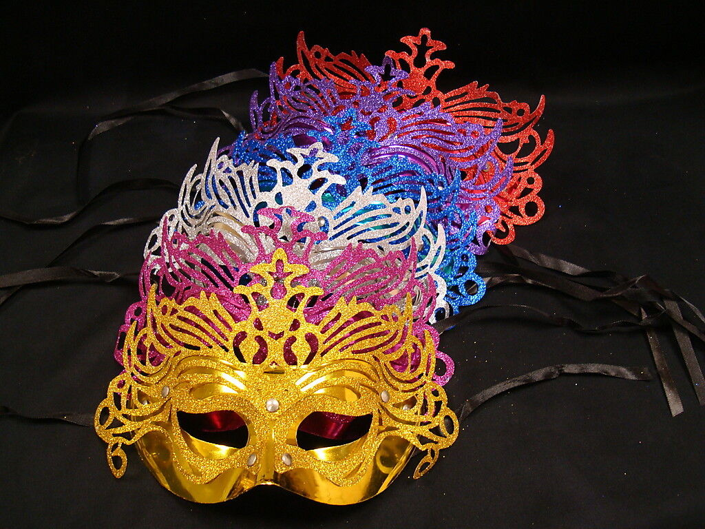 GLITTER WITH FEATHER MASQUERADE VENETIAN  BALL MASK CARNIVAL FANCY DRESS PARTY