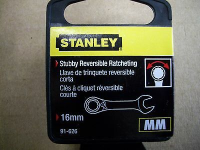 - New STANLEY STUBBY  16 mm  Metric Reversible Ratcheting Wrench    16 mm