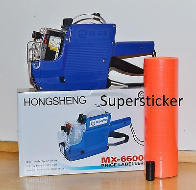 Mx-6600 10 Digits 2 Lines Price Tag Gun Labeler 1 Ink 5000 Red Tags