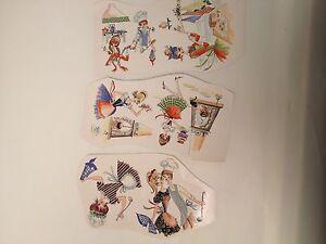 Ceramic decals Women in vintage aprons kitchen scenes lot of 36