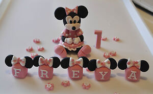 EDIBLE MINNIE MICKEY MOUSE BABY GIRL CAKE TOPPER DECORATION NAME BLOCKS