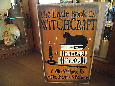LITTLE BOOK OF WITCH CRAFT  wood sign primitive Halloween - Primitive Halloween Wood Crafts