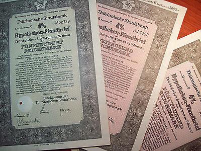3 Matching GERMAN WAR BONDS Set 500 2000 5000 Reichsmark WWII 1941 Awesome MINT
