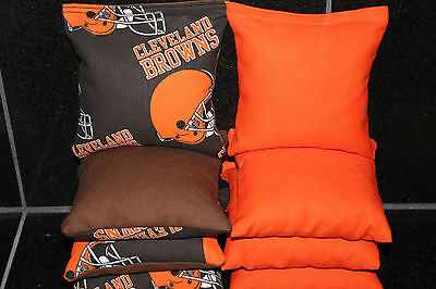 8 CORNHOLE BEAN BAGS made w CLEVELAND BROWNS fabric NFL Top Quality Handmade (Cleveland Browns Nfl Bean Bag)