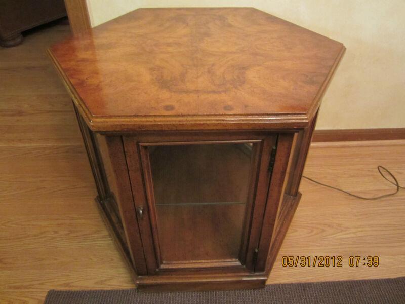 Vintage Weiman Burlwood Curio Cabinet End Table-#M856-Lighted-Glass Shelf-1960