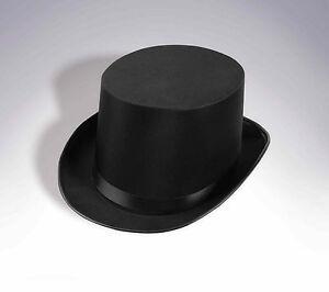 BLACK SATIN TOP HAT MAGICIAN GENTLEMAN ADULT 20'S COSTUME TUXEDO VICTORIAN